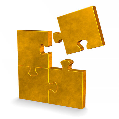 3d golden puzzle with one flying missing piece standing isolated on white photo