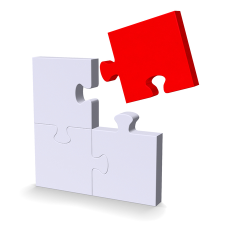 3d grey puzzle with red flying missing piece standing isolated on white photo