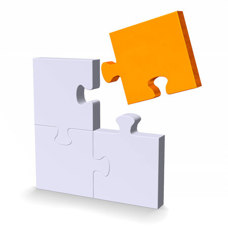 3d grey puzzle with orange flying missing piece standing isolated on white photo