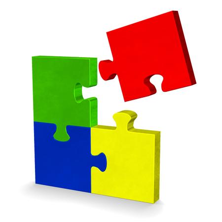 missing piece: Rompecabezas multicolor 3D con volar pieza que falta de pie aislado en blanco