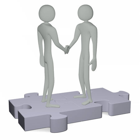 Grey 3d people standing on puzzles shaking hands isolated on white photo
