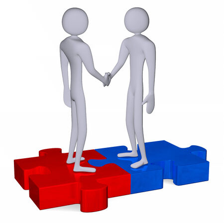 Grey 3d people standing on red and blue puzzles shaking hands isolated on white photo