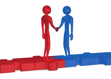 Blue and red 3d people standing on puzzles shaking hands isolated on white