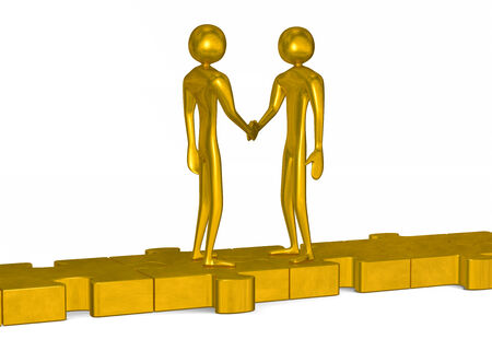 Golden 3d people standing on puzzles shaking hands isolated on white photo