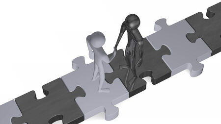 Black and white 3d people standing on puzzles shaking hands isolated on white photo