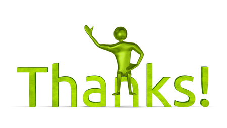 Green 3d man sitting on thanks text waving his hand with other hand on his belt isolated on white photo