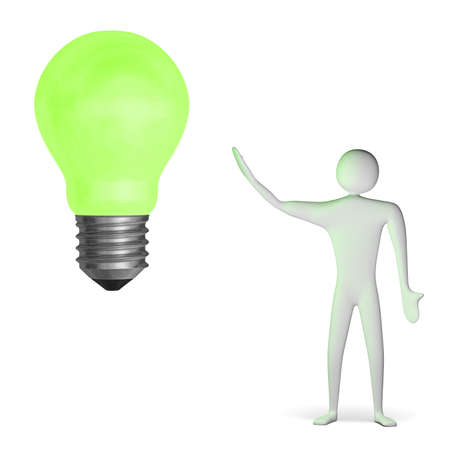 3d man and big green glowing light bulb isolated on white Stock Photo - 28093459
