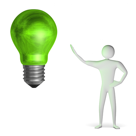 3d man and weird big green light bulb isolated on white Stock Photo - 28093461