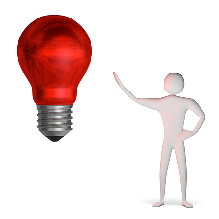 3d man and weird big red light bulb isolated on white Stock Photo - 28093462