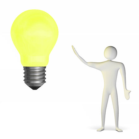3d man and big yellow glowing light bulb isolated on white Stock Photo - 28093463