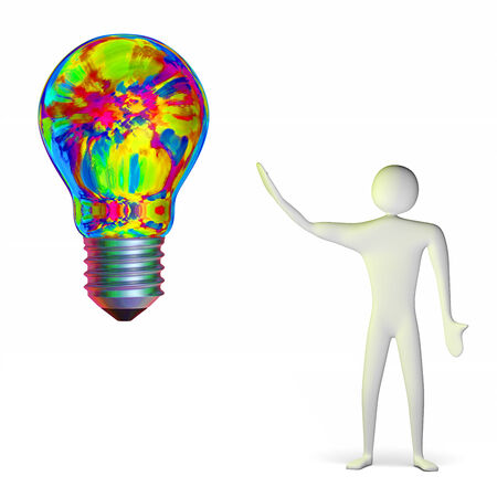 aha: 3d man and bright big multicolor light bulb isolated on white