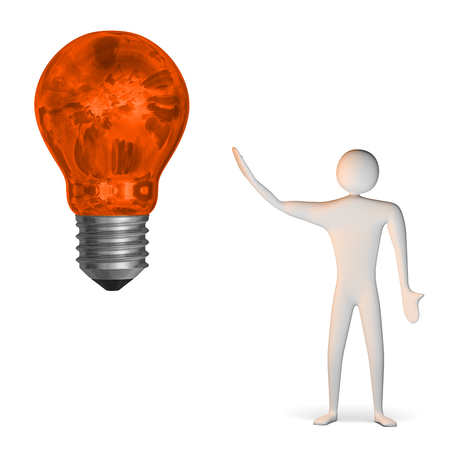 3d man and big weird glowing orange light bulb isolated on white Stock Photo - 28093467