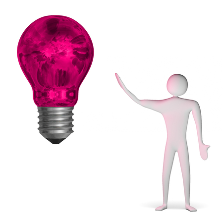 3d man and big weird glowing pink light bulb isolated on white Stock Photo - 28093497