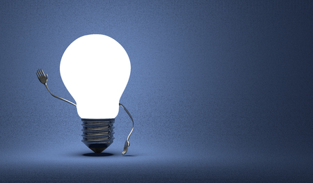Glowing light bulb character waving hand on dark blue textured background