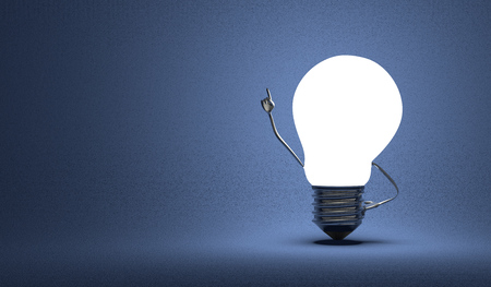Glowing light bulb character in moment of insight on dark blue textured background