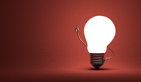 aha: Glowing light bulb character in moment of insight on dark red textured background
