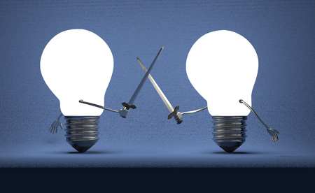 duel: Glowing light bulbs fighting duel with swords on dark blue textured background