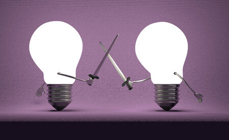 duel: Glowing light bulbs fighting duel with swords on dark violet textured background Stock Photo