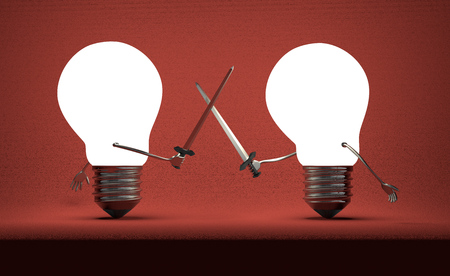 duel: Glowing light bulbs fighting duel with swords on dark red textured background Stock Photo