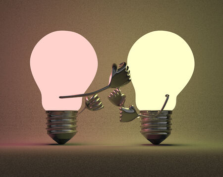 which one: Reddish glowing light bulb punching yellowish one with its fist on background which is illuminated by them