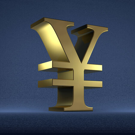 Golden yen or yuan sign on dark blue textured background