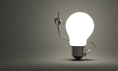 Glowing light bulb character with big metallic hands in moment of insight on gray textured background
