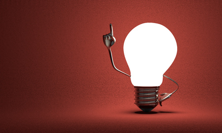 Glowing light bulb character with big metallic hands in moment of insight on red textured background photo