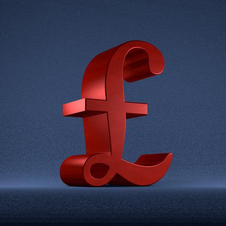 Red pound sterling sign on dark blue textured background photo