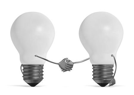 White light bulb characters handshaking isolated photo