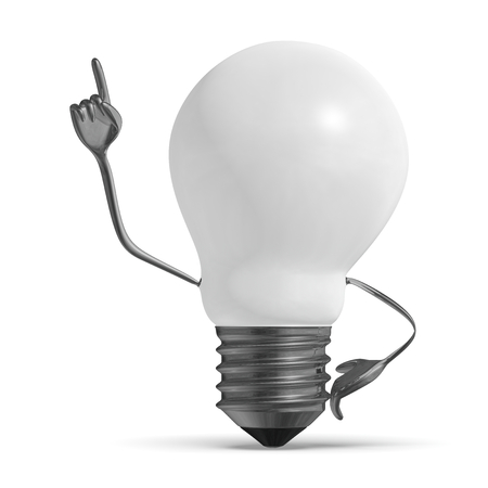 aha: White light bulb character in moment of insight isolated