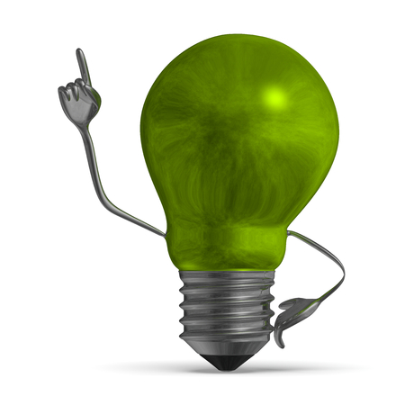 aha: Smoky green light bulb character in moment of insight isolated