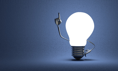 Glowing light bulb character with big metallic hands in moment of insight on blue textured background photo