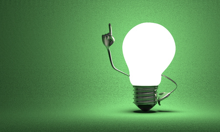 aha: Glowing light bulb character with big metallic hands in moment of insight on green textured background