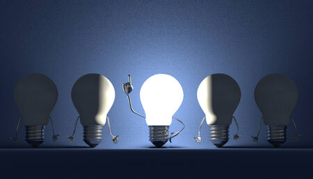 Glowing light bulb character in moment of insight among switched off ones on blue textured background photo