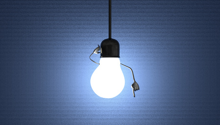 Glowing light bulb character in lamp socket on wire in moment of insight on blue textured background photo
