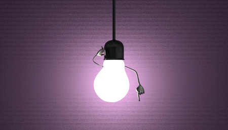 Glowing light bulb character in lamp socket on wire in moment of insight on violet textured background photo