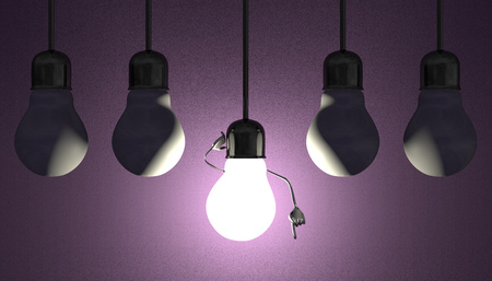 aha: Glowing light bulb character in lamp socket on wire in moment of insight among many switched off light bulbs on violet textured background