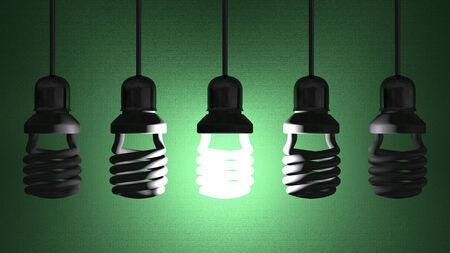 enchufe de luz: Lucir bombilla fluorescente colgando en el z�calo en el alambre entre apagado queridos en fondo verde de textura