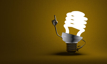 Glowing fluorescent light bulb character with big metallic hands in moment of insight on yellow textured background