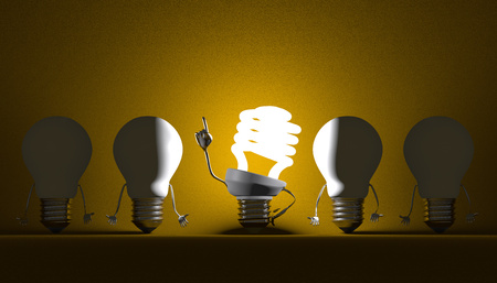Glowing fluorescent light bulb character in moment of insight among switched off tungsten ones on yellow textured background Standard-Bild