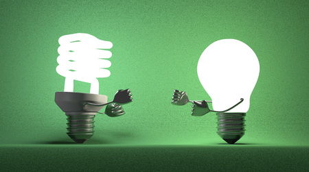 tungsten: Glowing fluorescent light bulb and tungsten one fighting with their fists on green textured background