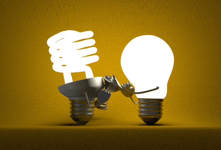 tungsten: Glowing tungsten light bulb punching spiral one with its fists on yellow textured background