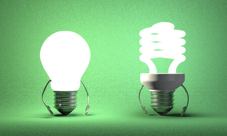 tungsten: Glowing tungsten light bulb character and fluorescent one on green textured background Stock Photo