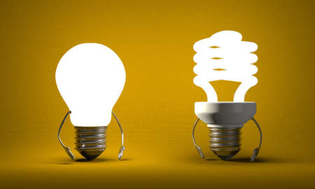 tungsten: Glowing tungsten light bulb character and fluorescent one on yellow textured background