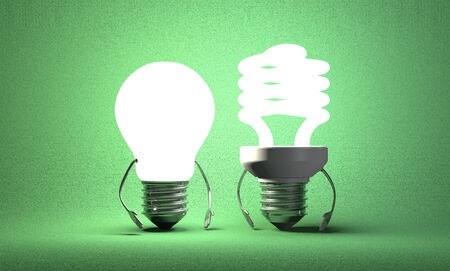 incandescent: Glowing tungsten light bulb character standing beside fluorescent one on green textured background Stock Photo
