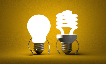 tungsten: Glowing tungsten light bulb character standing beside fluorescent one on yellow textured background