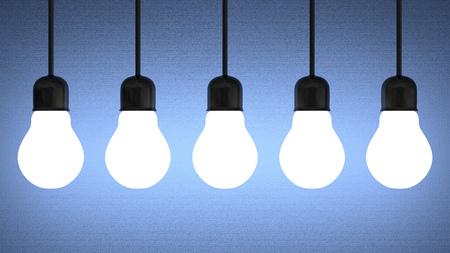 enchufe de luz: Fila de colgantes brillantes bombillas de tungsteno sobre fondo azul con textura