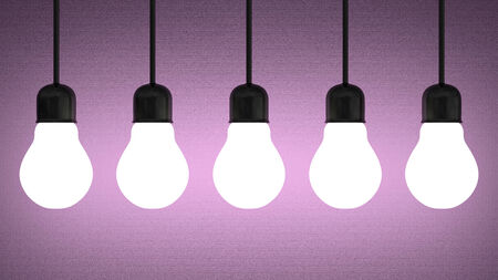ineffective: Row of hanging glowing tungsten light bulbs on violet textured background