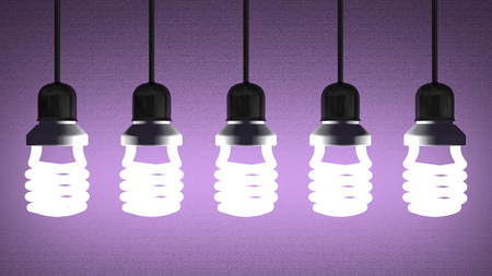 installed: Glowing fluorescent light bulbs installed in sockets hanging on wires on violet textured background Stock Photo