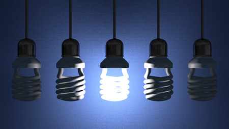 Glowing fluorescent light bulb hanging in socket on wire among switched off ones on blue textured background Standard-Bild
